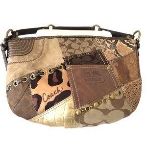 Coach multi color brown patchwork hobo shoulderbag